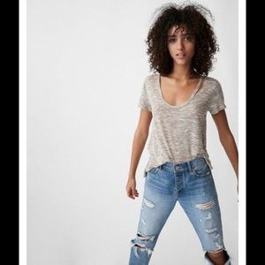 Express One Eleven Slash V-Neck Easy Tee Top XS